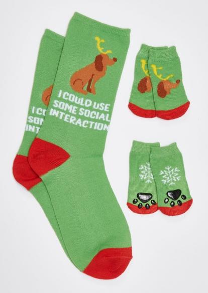 green social dog matching pet sock set - Main Image