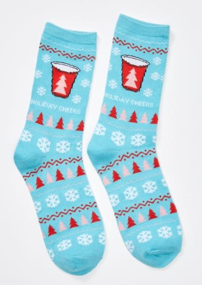 blue holiday cheers holiday crew socks - Main Image