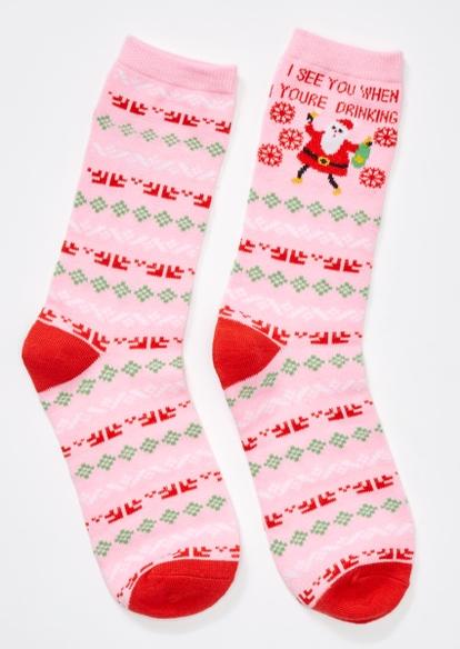 pink see you santa holiday crew socks - Main Image