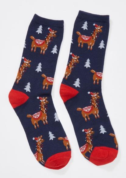 navy llama xmas holiday crew socks - Main Image