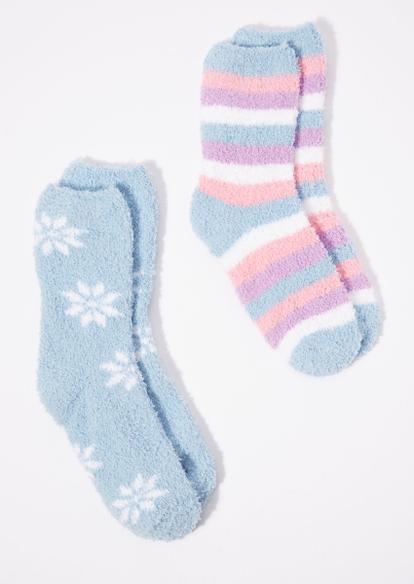 2-pack pastel snowflake plush crew socks set - Main Image