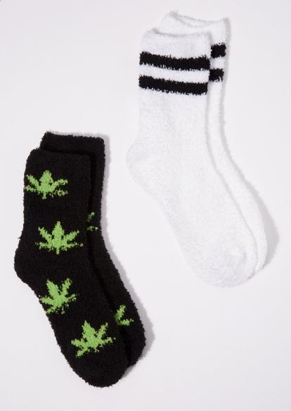 2-pack striped weed leaf plush crew socks set - Main Image