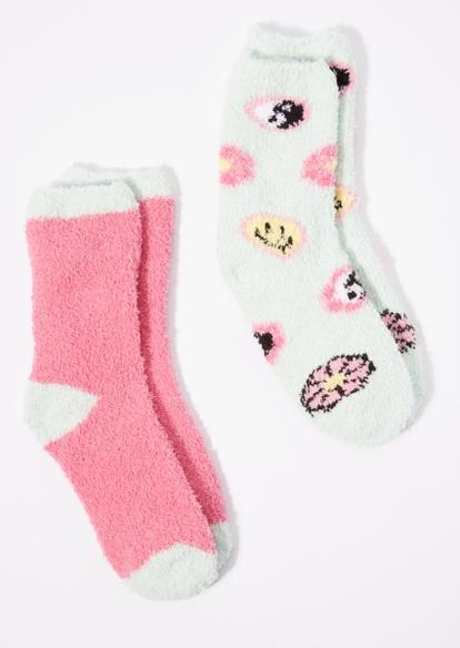 2-pack pink y2k print plush crew socks set - Main Image