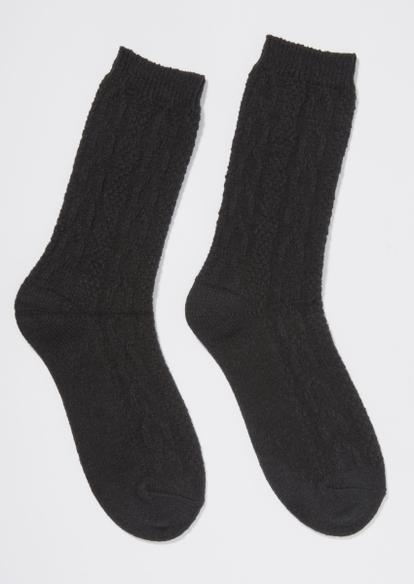 black cable knit boot socks - Main Image