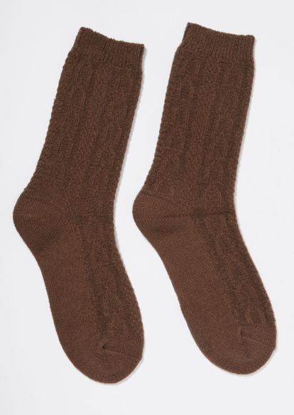 brown cable knit boot socks - Main Image