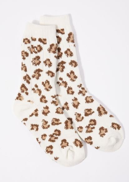 leopard print ribbed knit crew socks - Main Image