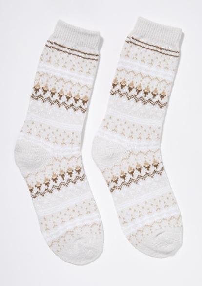 ivory fair isle cable knit boot socks - Main Image