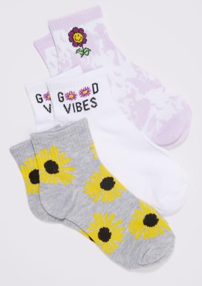 3-pack purple tie dye daisy sunflower vibes ankle sock set - Main Image