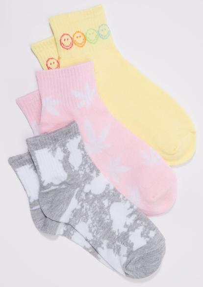 3-pack pink weed leaf smiley face print ankle sock set - Main Image