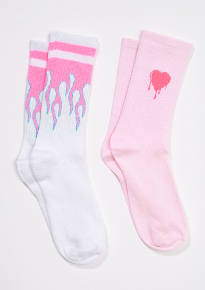 2-pack pink drippy heart flame crew socks - Main Image