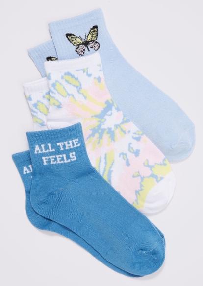 3-pack blue tie dye butterfly feels ankle sock set - Main Image