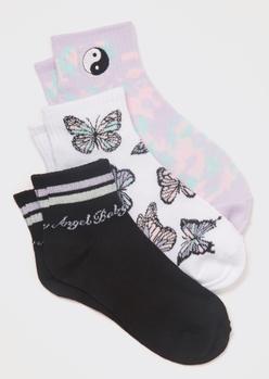 3-pack yin yang print quarter crew socks - Main Image
