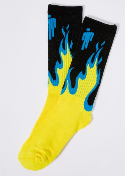black billie eilish flame crew socks - Main Image