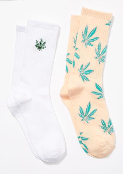 2-pack white peach weed leaf crew socks - Main Image