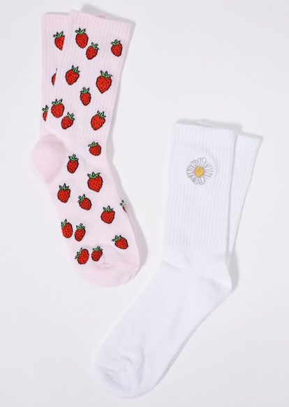 2-pack strawberry print daisy embroidered crew sock set - Main Image