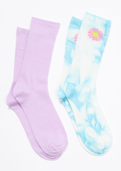 2-pack lavender tie dye daisy crew socks - Main Image