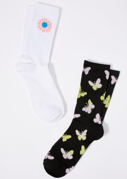 2-pack butterfly daisy crew socks - Main Image