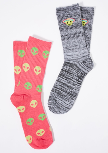 2-pack alien smiley crew socks - Main Image