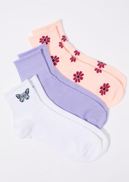 3-pack butterfly flower crew socks - Main Image