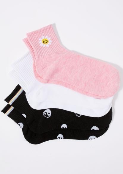 3-pack daisy smile yin yang crew socks - Main Image