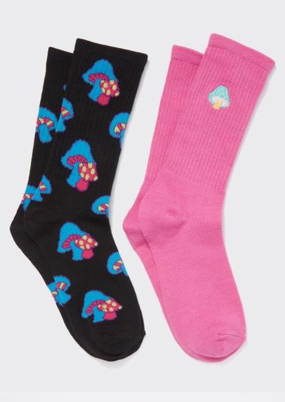2-pack mushroom print embroidered crew socks - Main Image