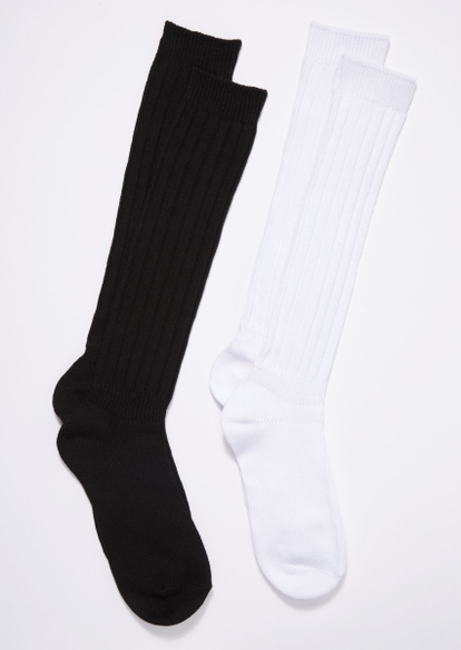 2-pack black and white scrunched crew socks - Main Image