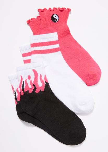 3-pack flame yin yang crew socks - Main Image