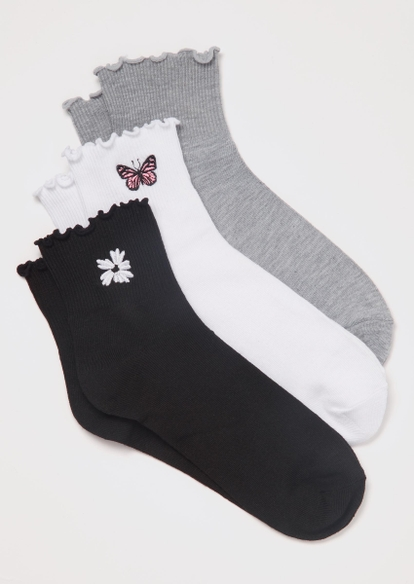 3-pack daisy embroidered ruffle ankle socks - Main Image