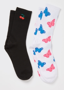 2-pack butterfly cherry crew socks - Main Image