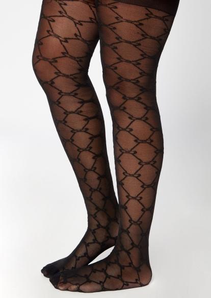 black chain print tights - Main Image