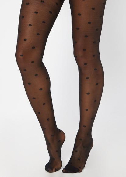 black polka dot print tights - Main Image
