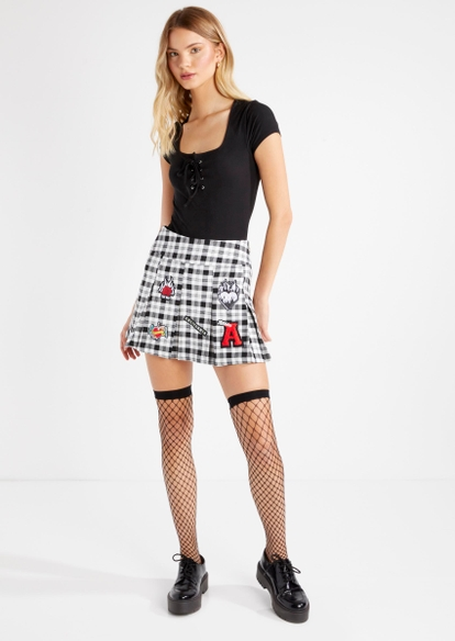 black fishnet thigh high tights - Main Image
