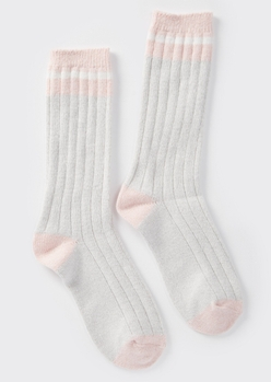heathered gray striped boot socks - Main Image