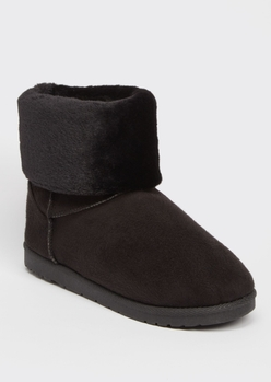 black faux fur fold over short cozy boots - Main Image