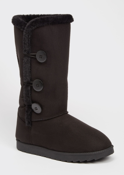 black toggle button tall cozy boots - Main Image
