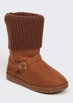 camel knit fold down buckled cozy boots - Main Image