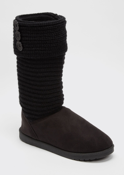 black knit tall cozy boots - Main Image