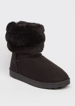 black ribbed faux fur mid cozy boots - Main Image