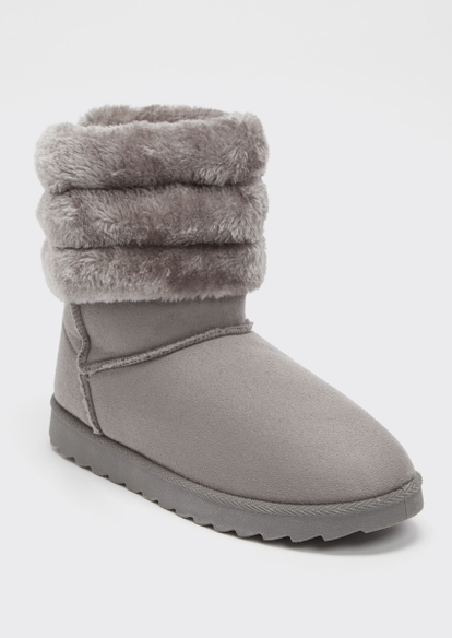 gray ribbed faux fur mid cozy boots - Main Image