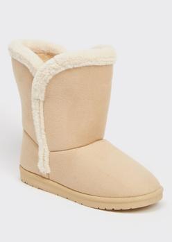taupe faux fur trim mid rise boots - Main Image