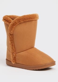 camel faux fur trim mid rise boots - Main Image