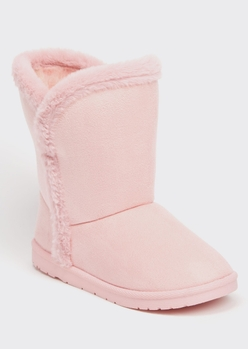 pink faux fur trim mid rise boots - Main Image