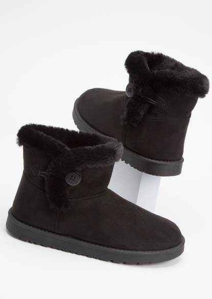 black toggle button mid cozy boots - Main Image