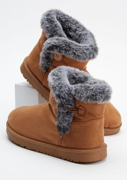 tan toggle button mid cozy boots - Main Image