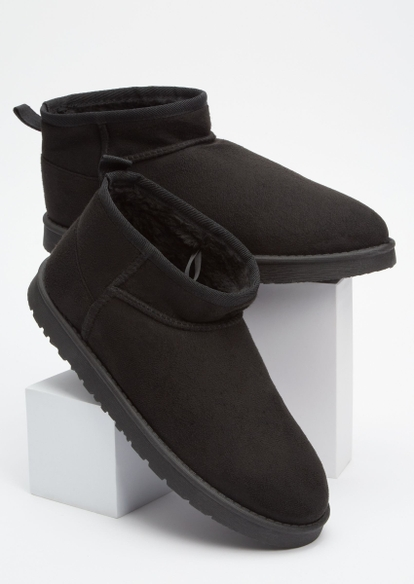 black mini cozy boots - Main Image