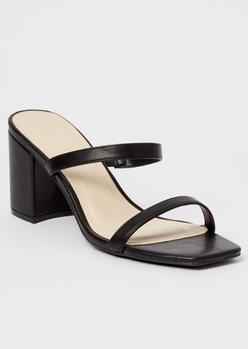 black square toe double band block heels - Main Image