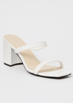 white square toe double band block heels - Main Image