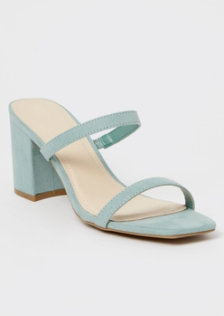 sage green square toe double band block heels - Main Image