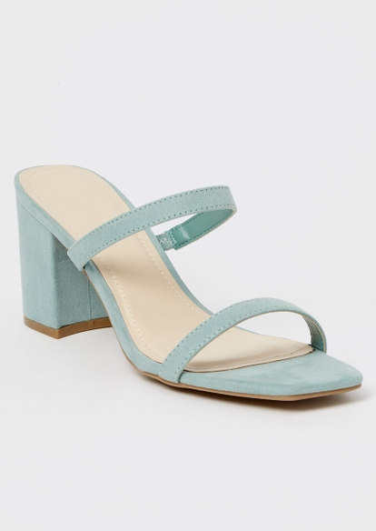 sage green square toe double band block heels - Main Image