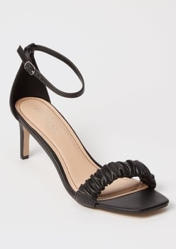 black square toe ruched midi heels - Main Image